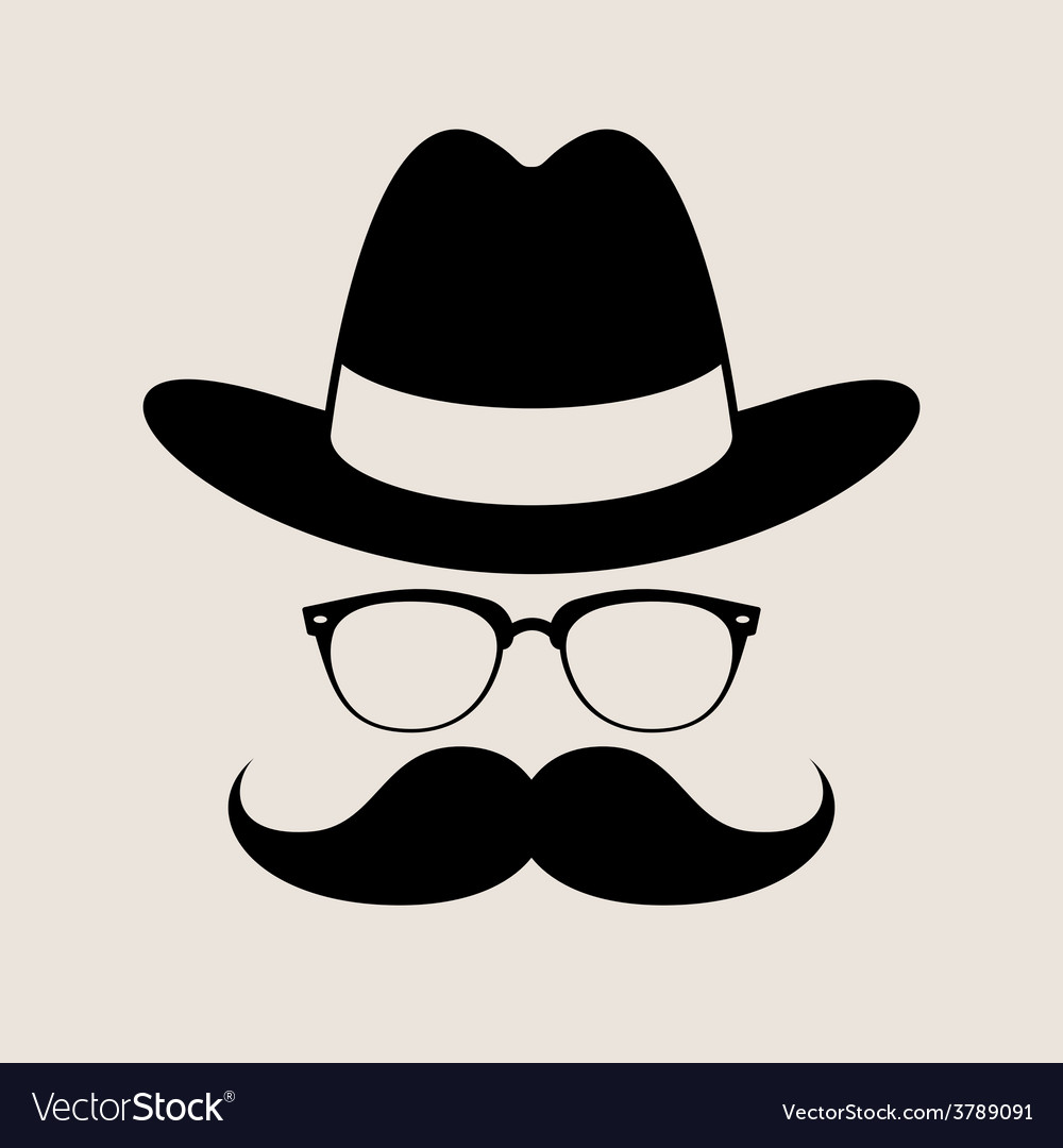 Hipster style element glasses hat and mustaches vector | Price: 1 Credit (USD $1)