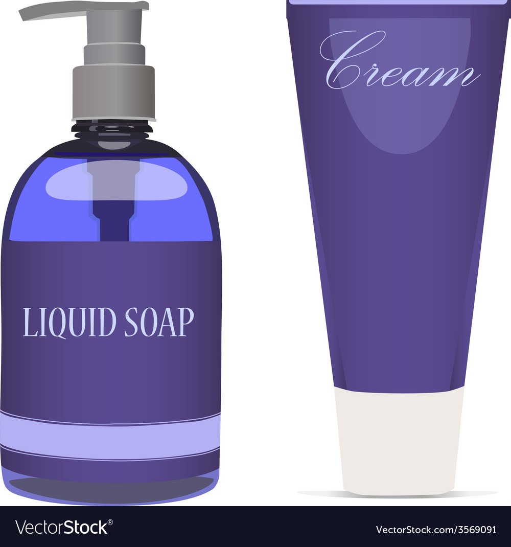 Purple liquid soap bottle and cream tube vector | Price: 1 Credit (USD $1)