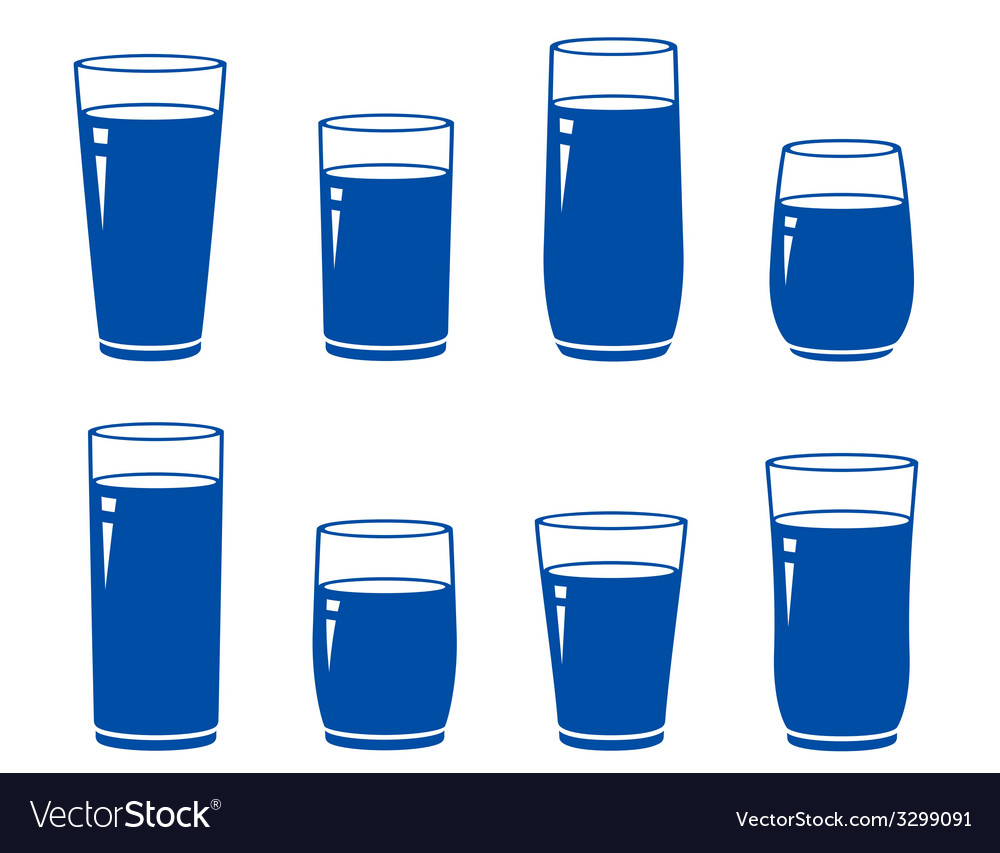 Set of isolated blue water glass vector | Price: 1 Credit (USD $1)