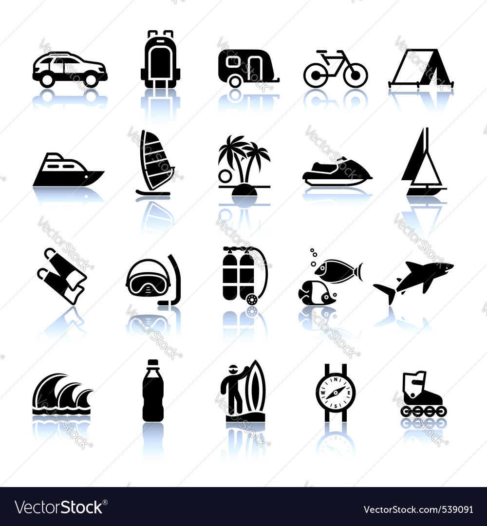 Signs tourism travel sports fourth set vector | Price: 1 Credit (USD $1)