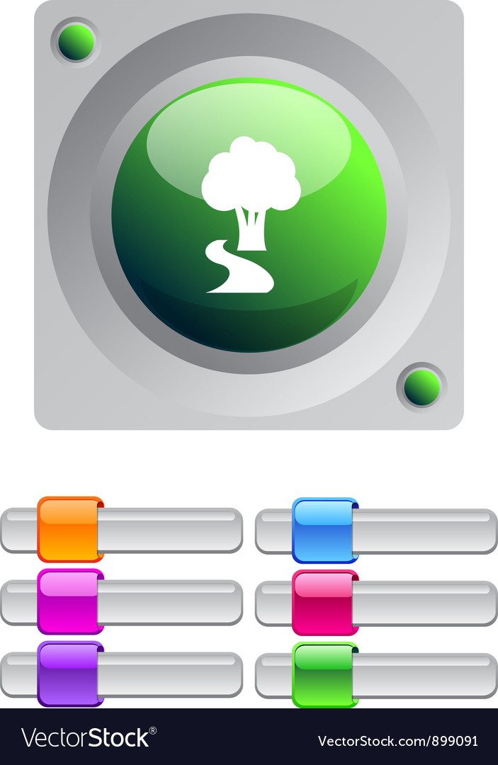 Tree color round button vector | Price: 1 Credit (USD $1)