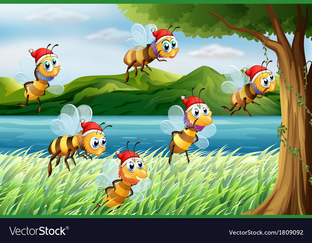 A group of bees going to the tree at the riverbank vector   Price: 1 Credit (USD $1)