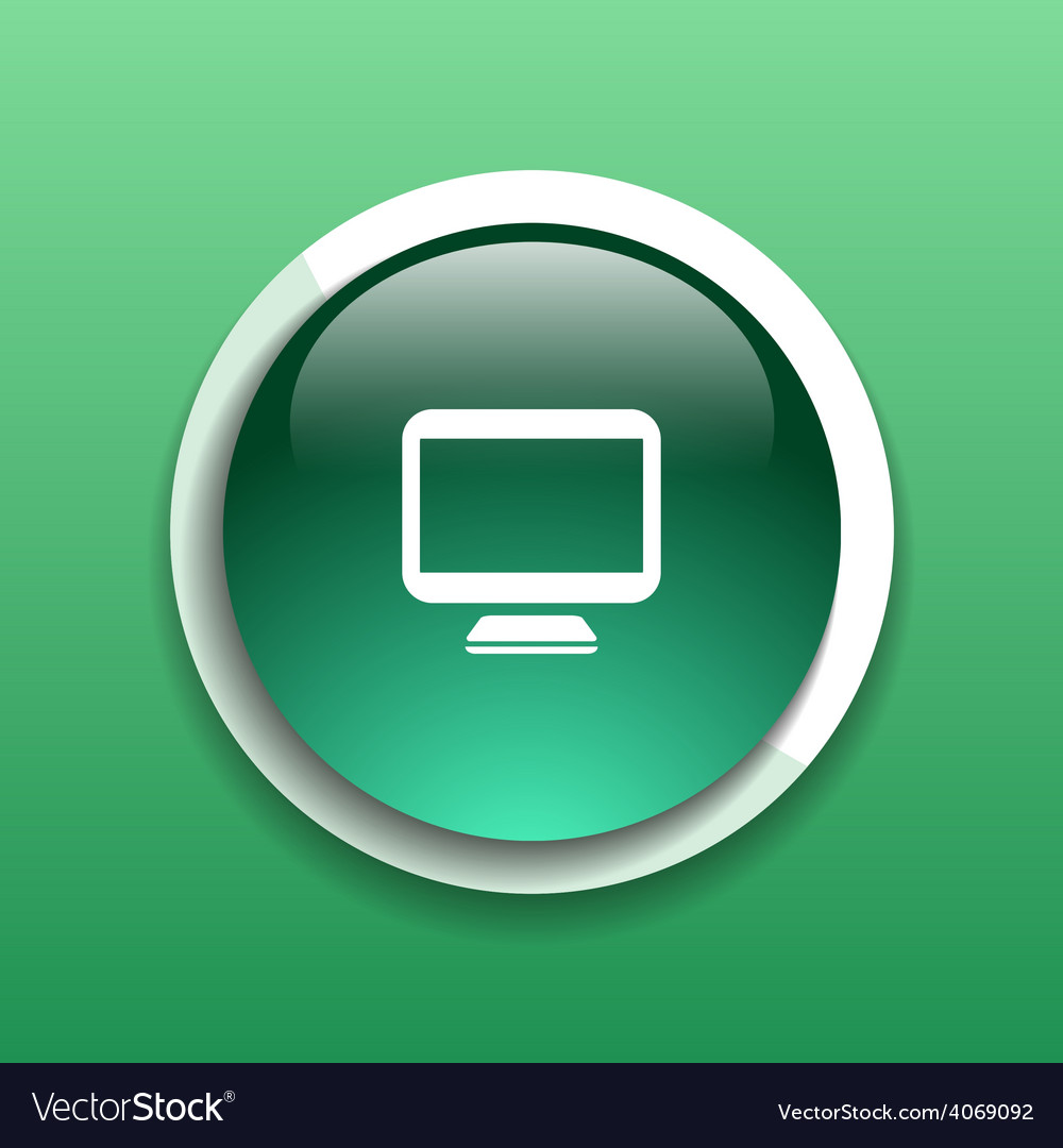 Computer display isolated icon screen monitor isol vector | Price: 1 Credit (USD $1)
