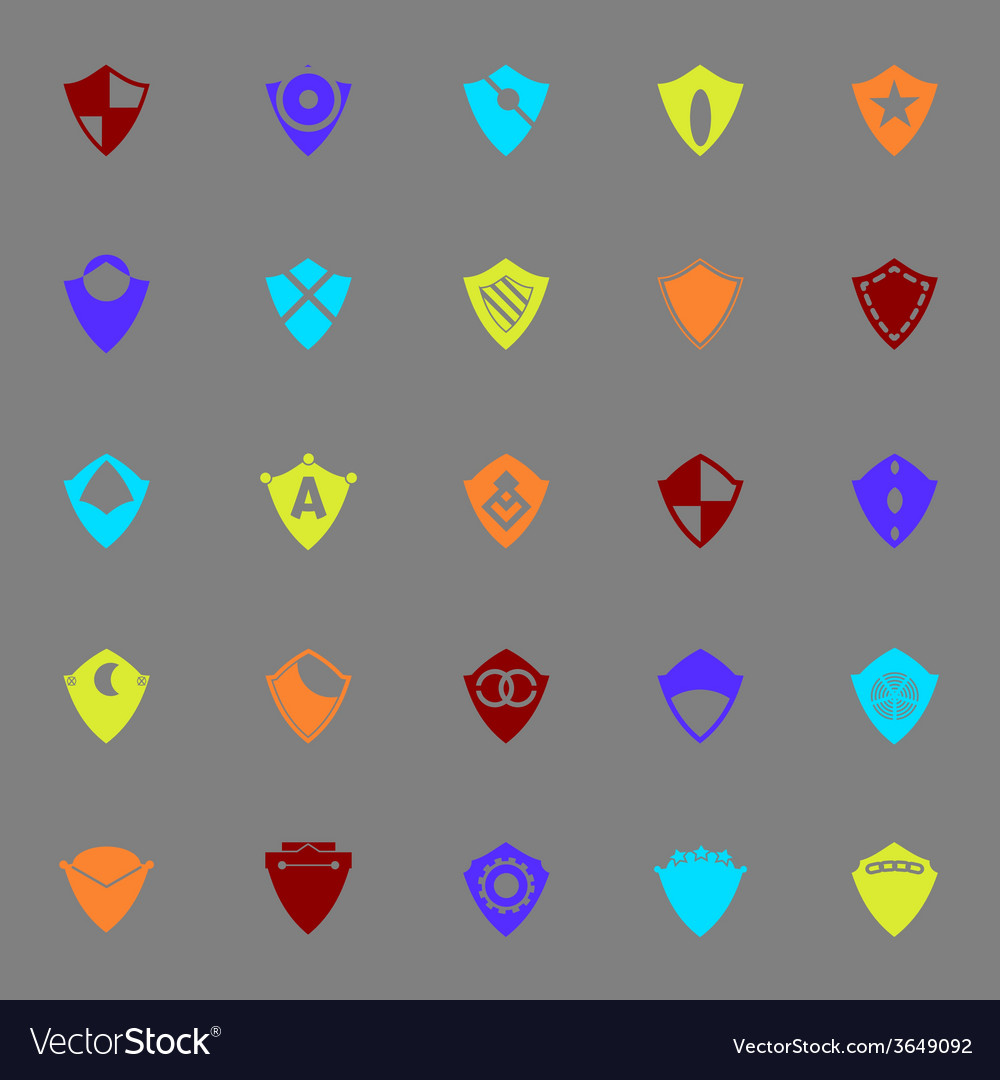 Design shield color icons on gray background vector   Price: 1 Credit (USD $1)