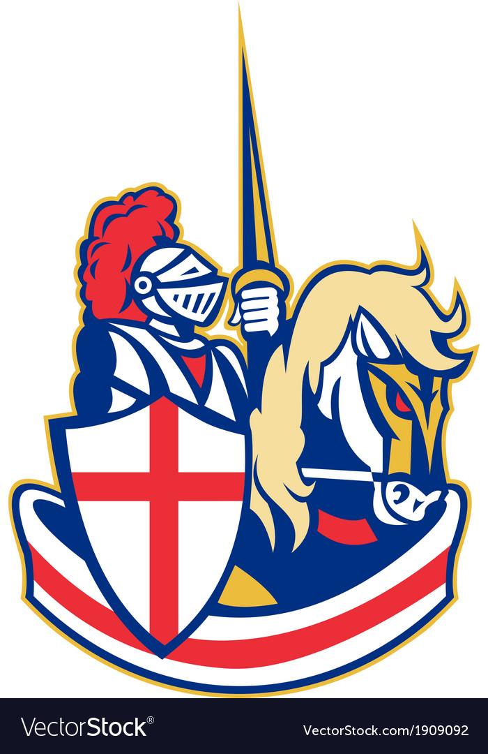 English knight riding horse england flag retro vector | Price: 1 Credit (USD $1)