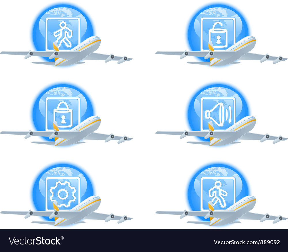 Flight status icon set vector | Price: 1 Credit (USD $1)