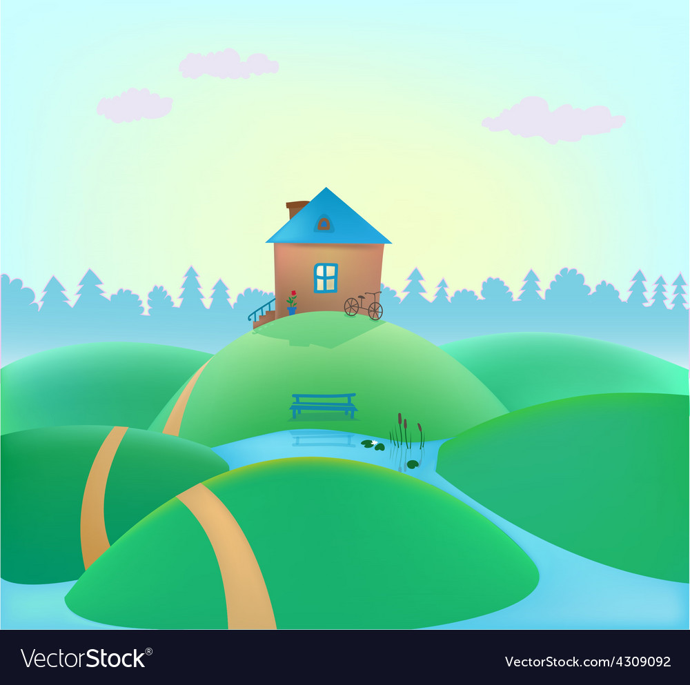 Small cute house on the hills vector | Price: 1 Credit (USD $1)