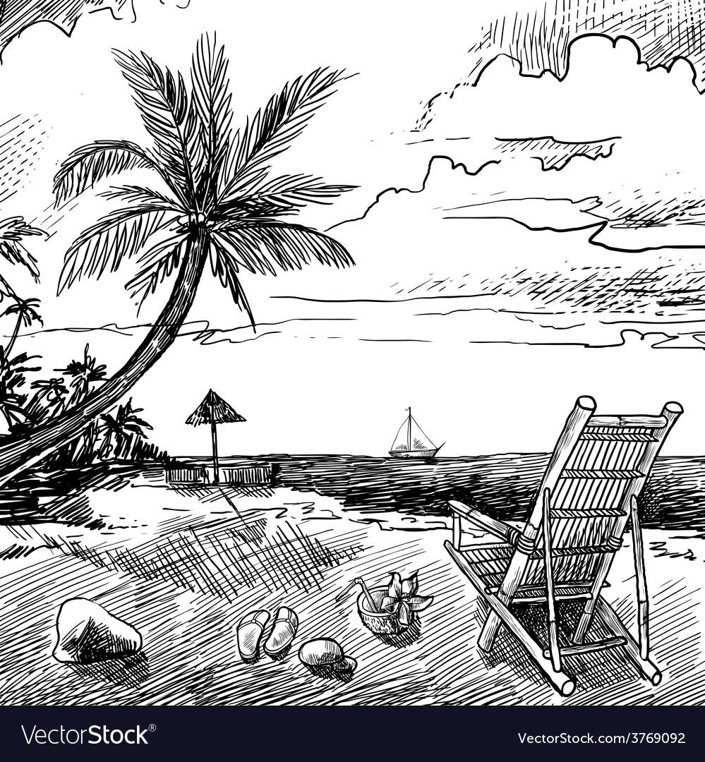 Summer beach sketch vector | Price: 1 Credit (USD $1)