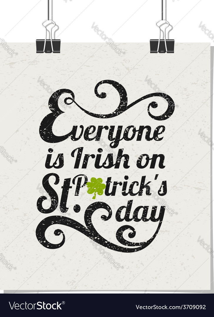 Vintage typographic poster for st patricks day vector | Price: 1 Credit (USD $1)