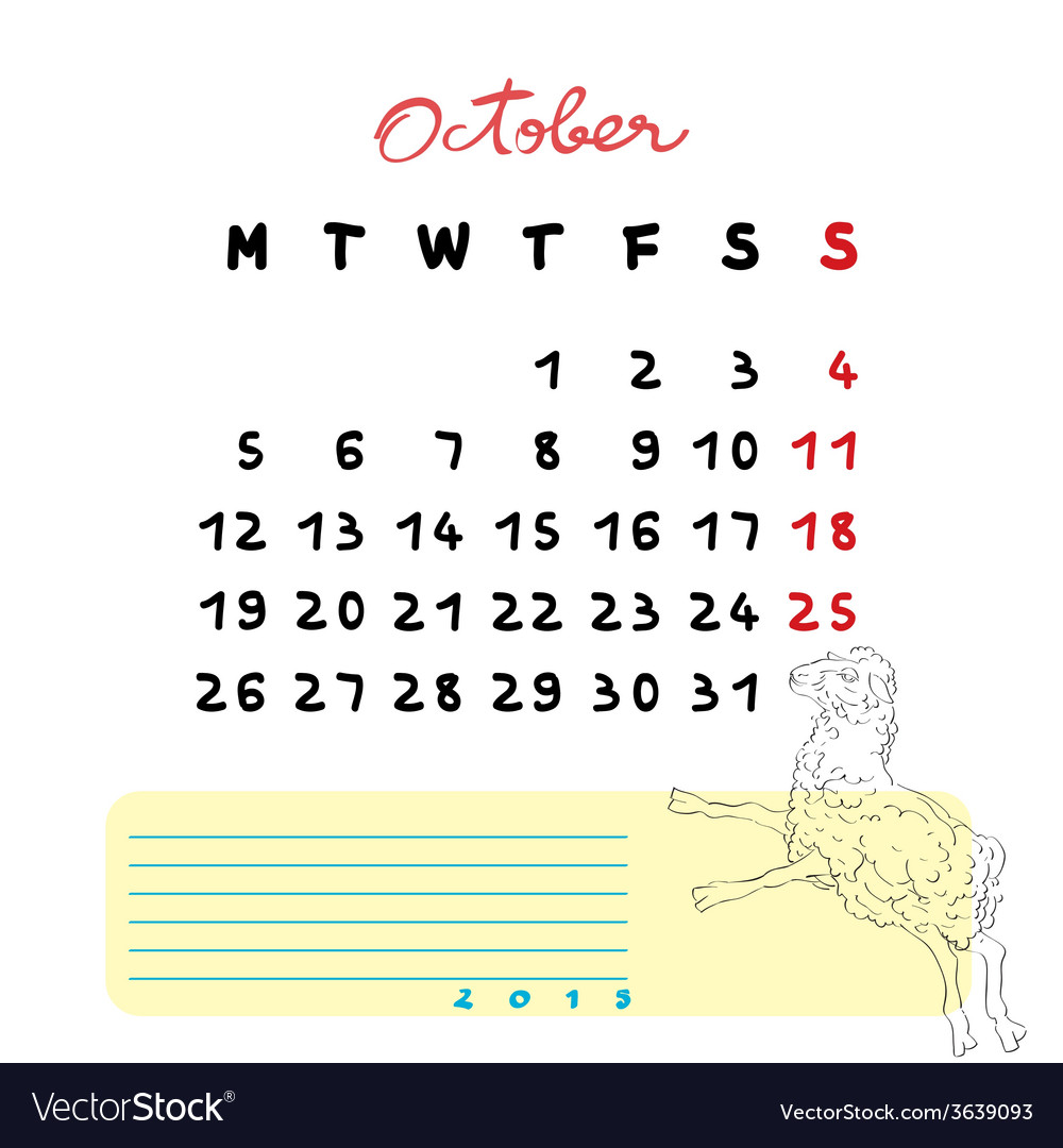 2015 october sheep vector | Price: 1 Credit (USD $1)