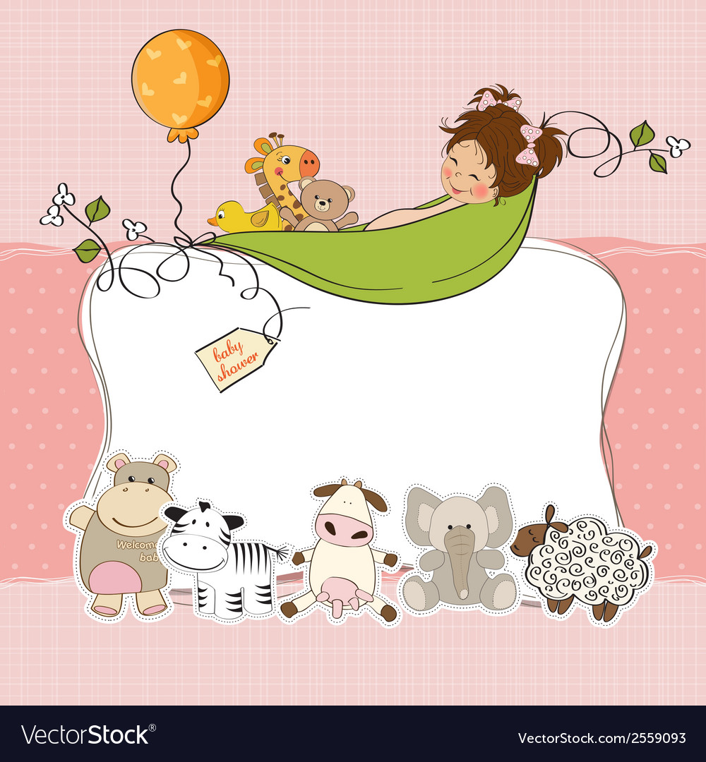 Baby girl shower card vector   Price: 1 Credit (USD $1)