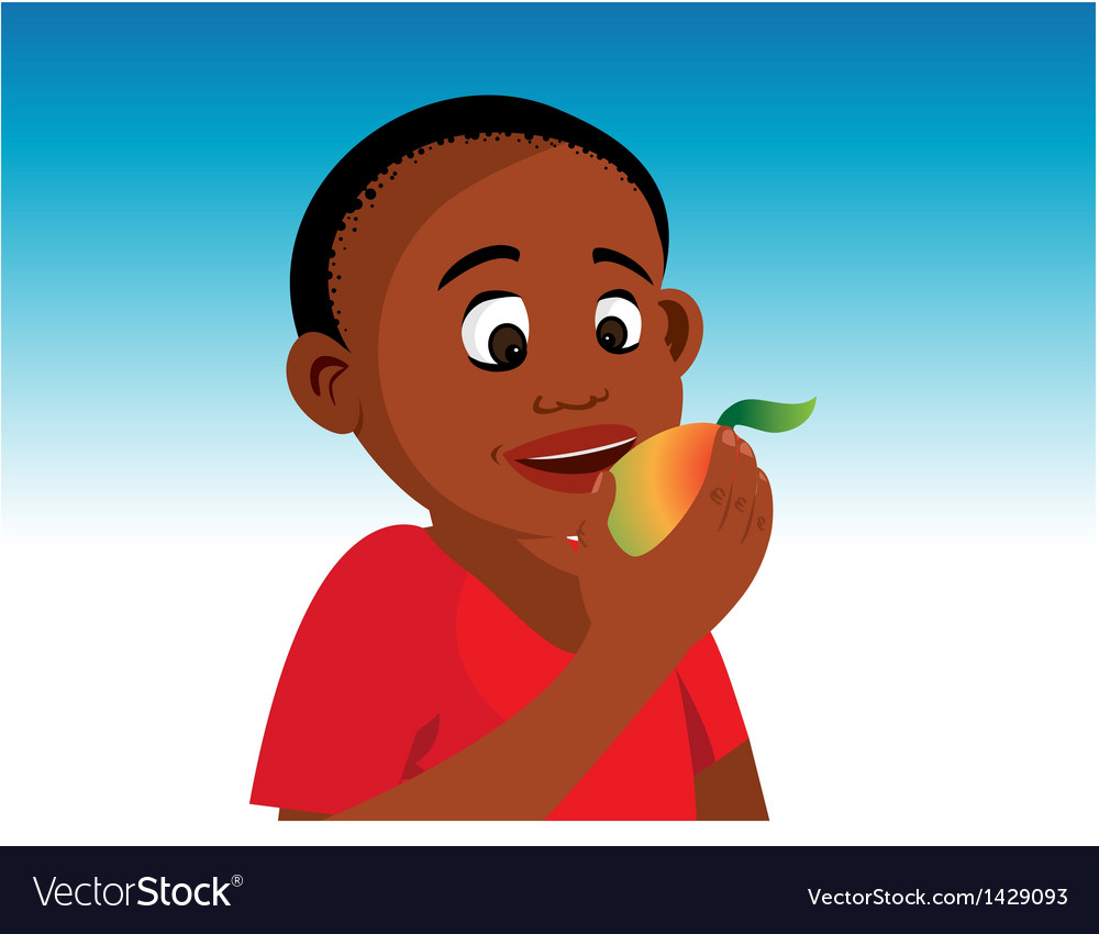 Boy eating fruit vector | Price: 1 Credit (USD $1)