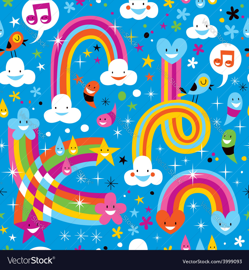 Clouds rainbows rain drops hearts cute pattern vector | Price: 1 Credit (USD $1)