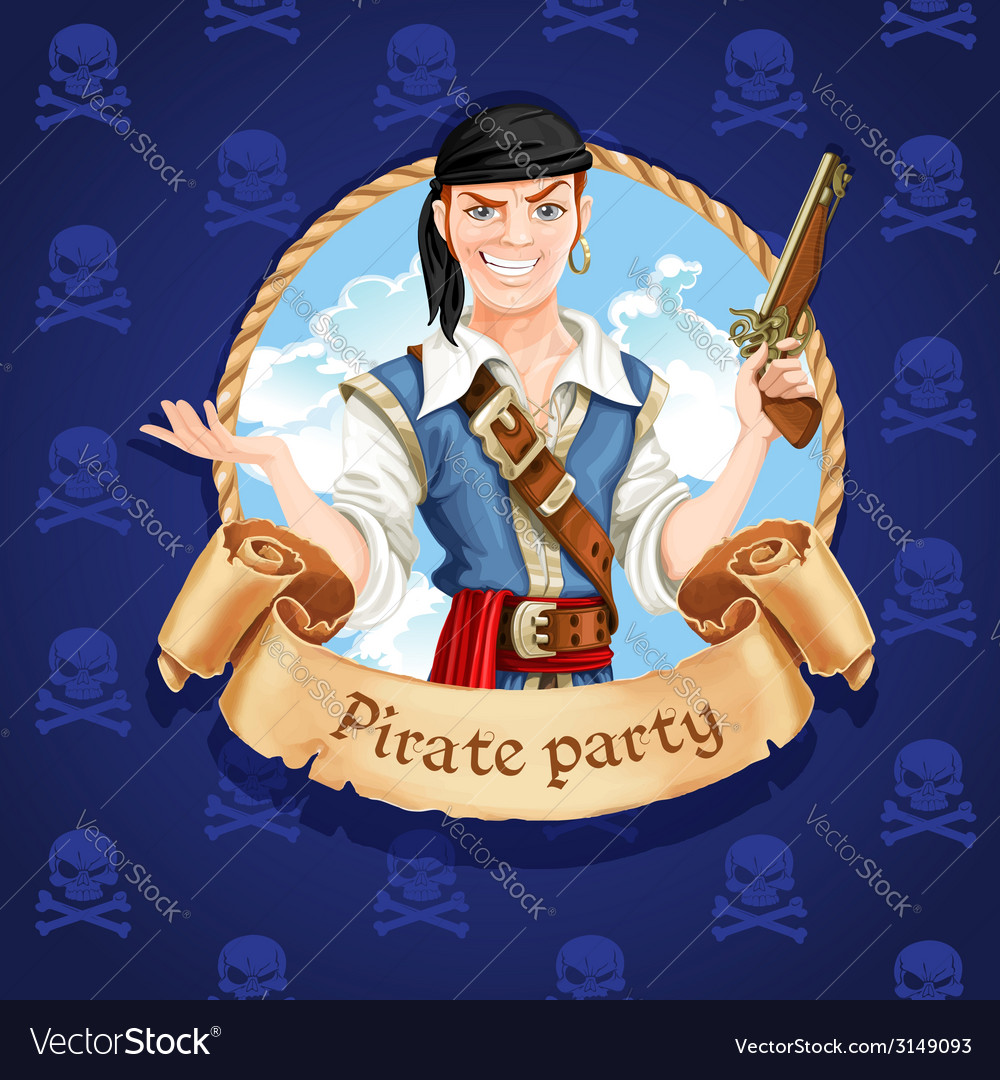Cute pirate banner for pirate party vector | Price: 3 Credit (USD $3)