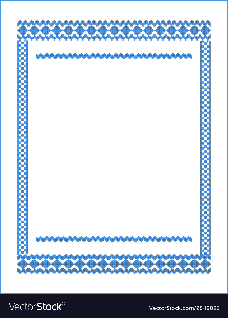 Frame for cross-stitch embroidery blue colors vector | Price: 1 Credit (USD $1)