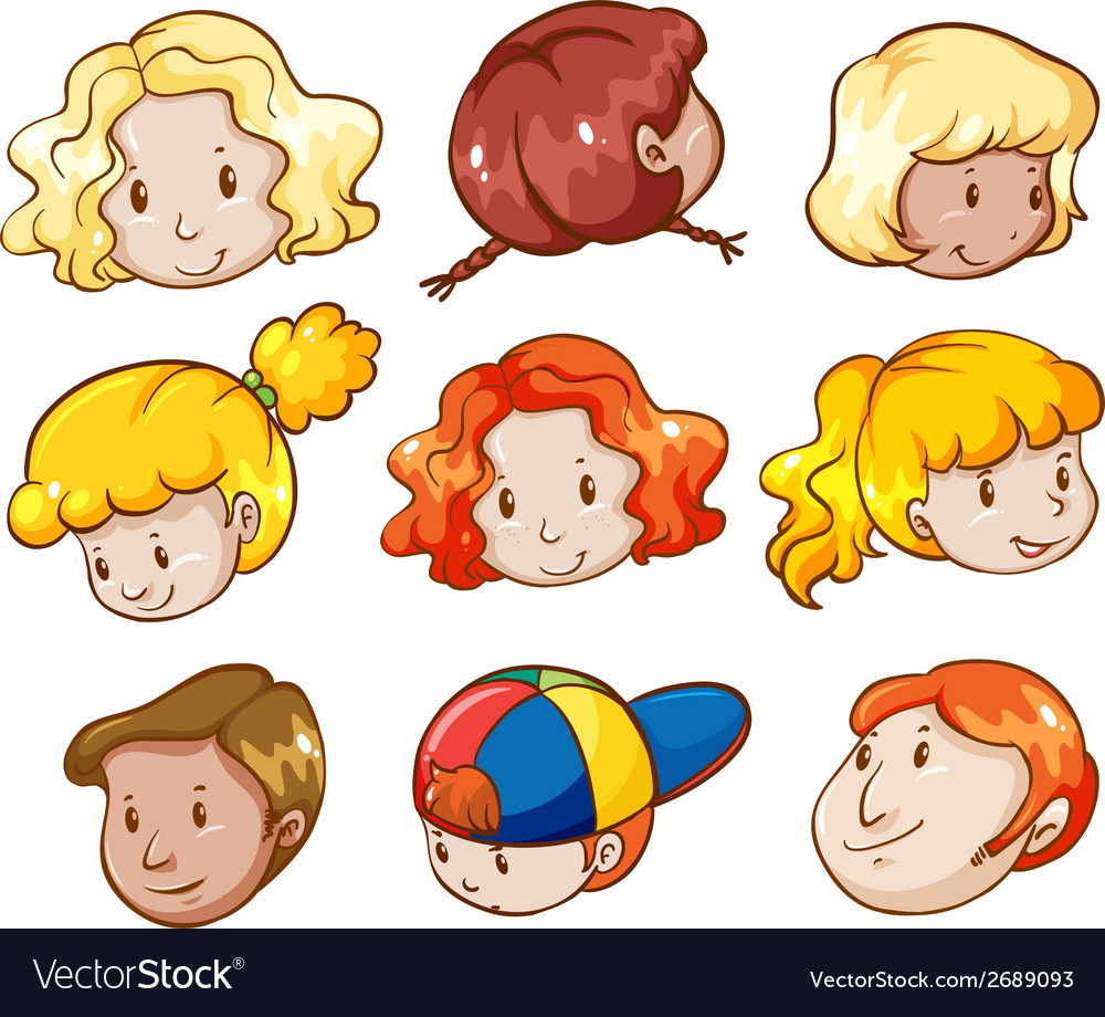 Heads of different people vector | Price: 1 Credit (USD $1)