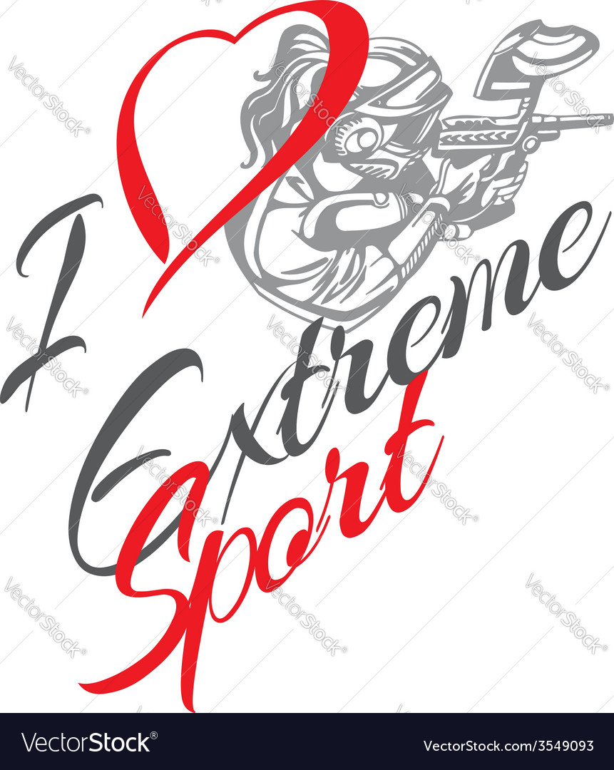I love extreme sport paintball player - vector | Price: 1 Credit (USD $1)