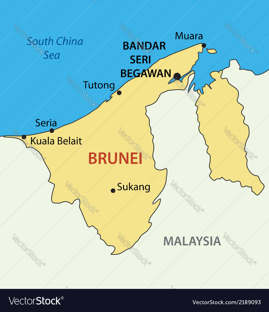 Nation of brunei the abode of peace - map vector | Price: 1 Credit (USD $1)