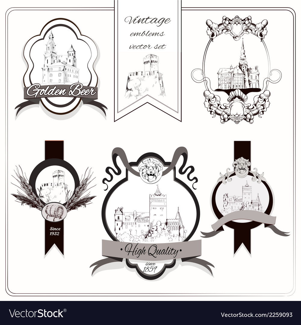 Old city emblems vector | Price: 1 Credit (USD $1)