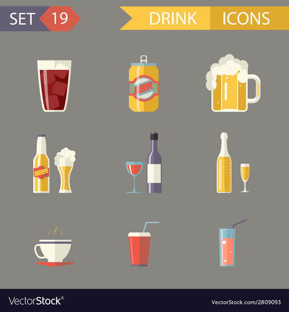 Retro flat alcohol beer juice tea wine drink icons vector