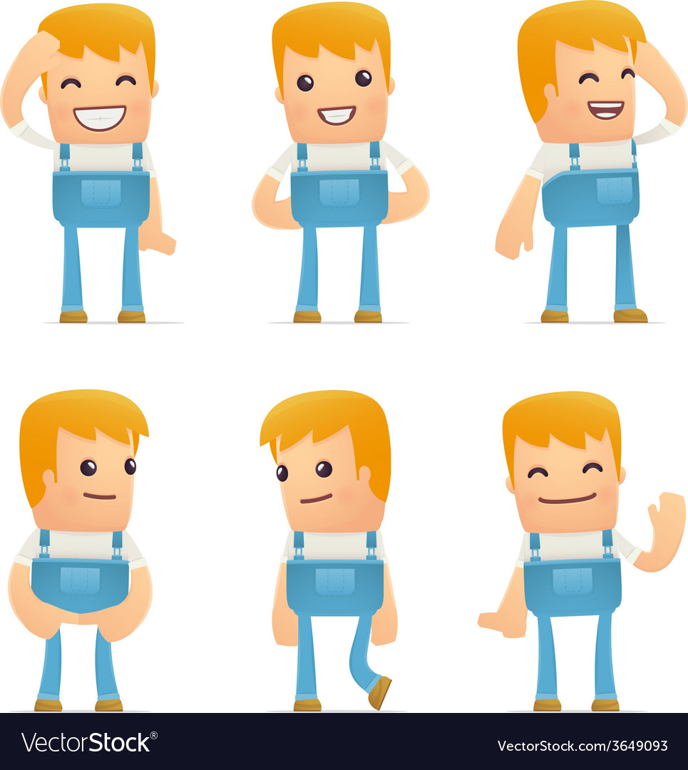 Set of mechanic character in different poses vector   Price: 3 Credit (USD $3)