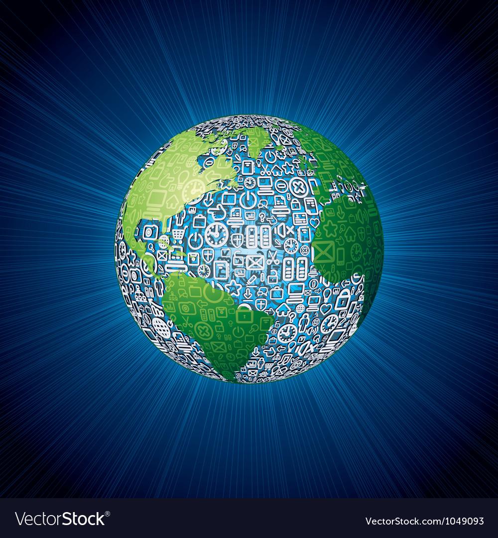 Social media icons globe vector   Price: 1 Credit (USD $1)