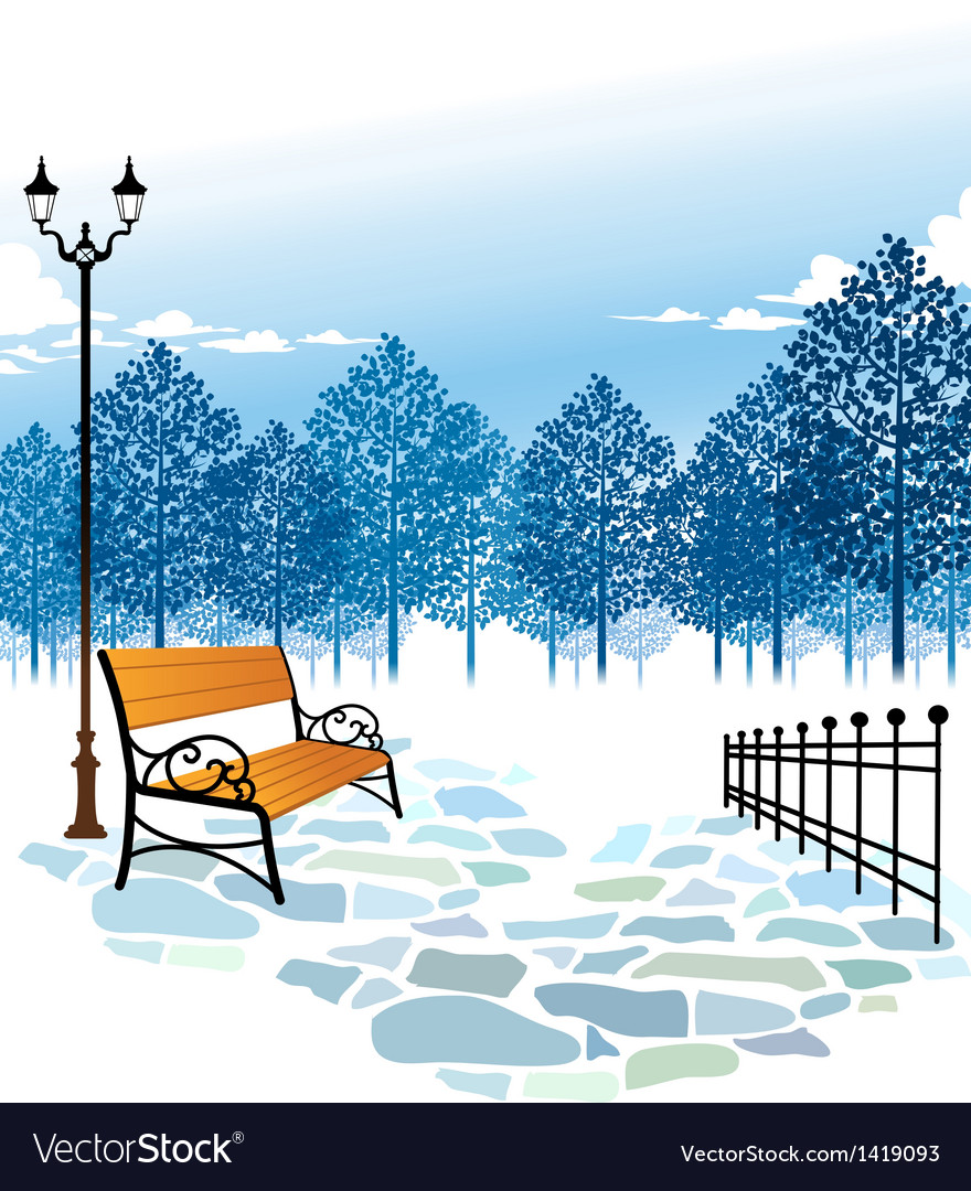 Winter park scene vector | Price: 1 Credit (USD $1)