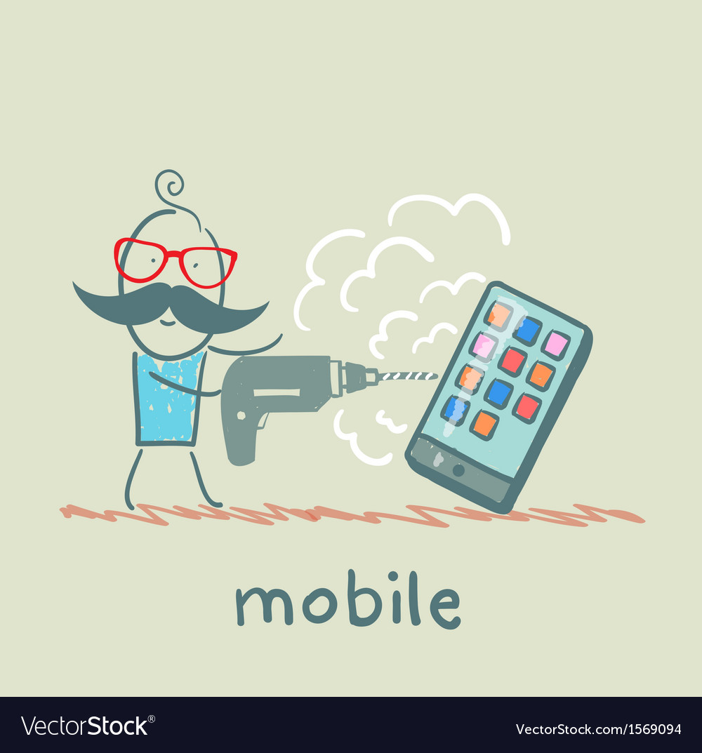 A man with a drill mobile vector | Price: 1 Credit (USD $1)