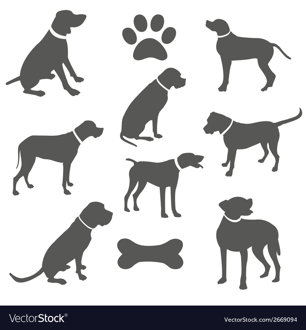 Black silhouettes of dogs vector | Price: 1 Credit (USD $1)