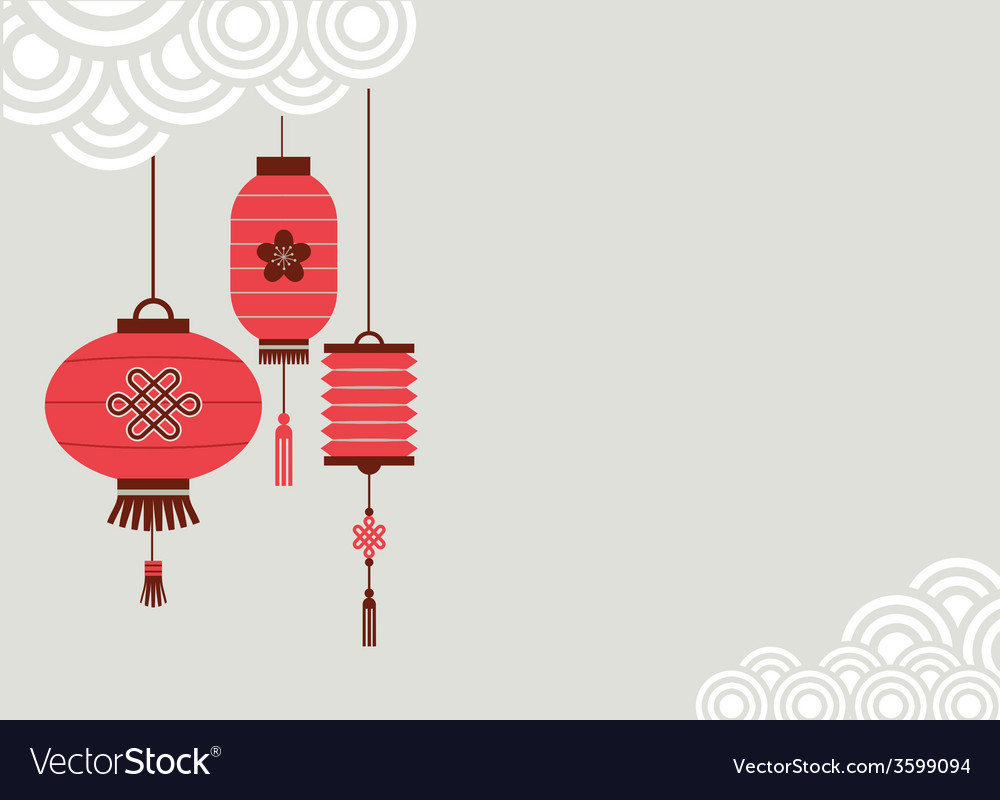 Chinese new year background with lanterns vector | Price: 1 Credit (USD $1)