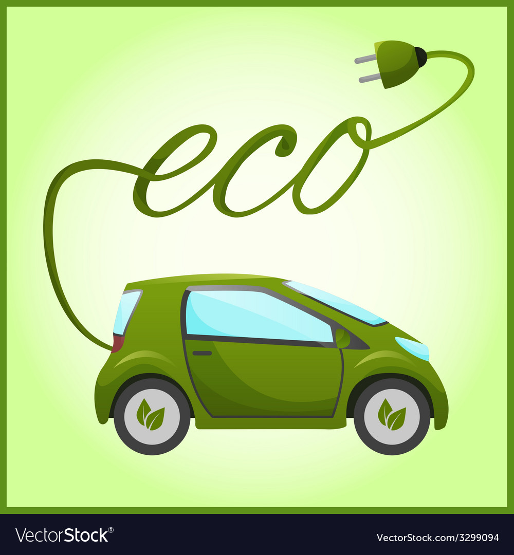 Electric car with eco design vector | Price: 3 Credit (USD $3)