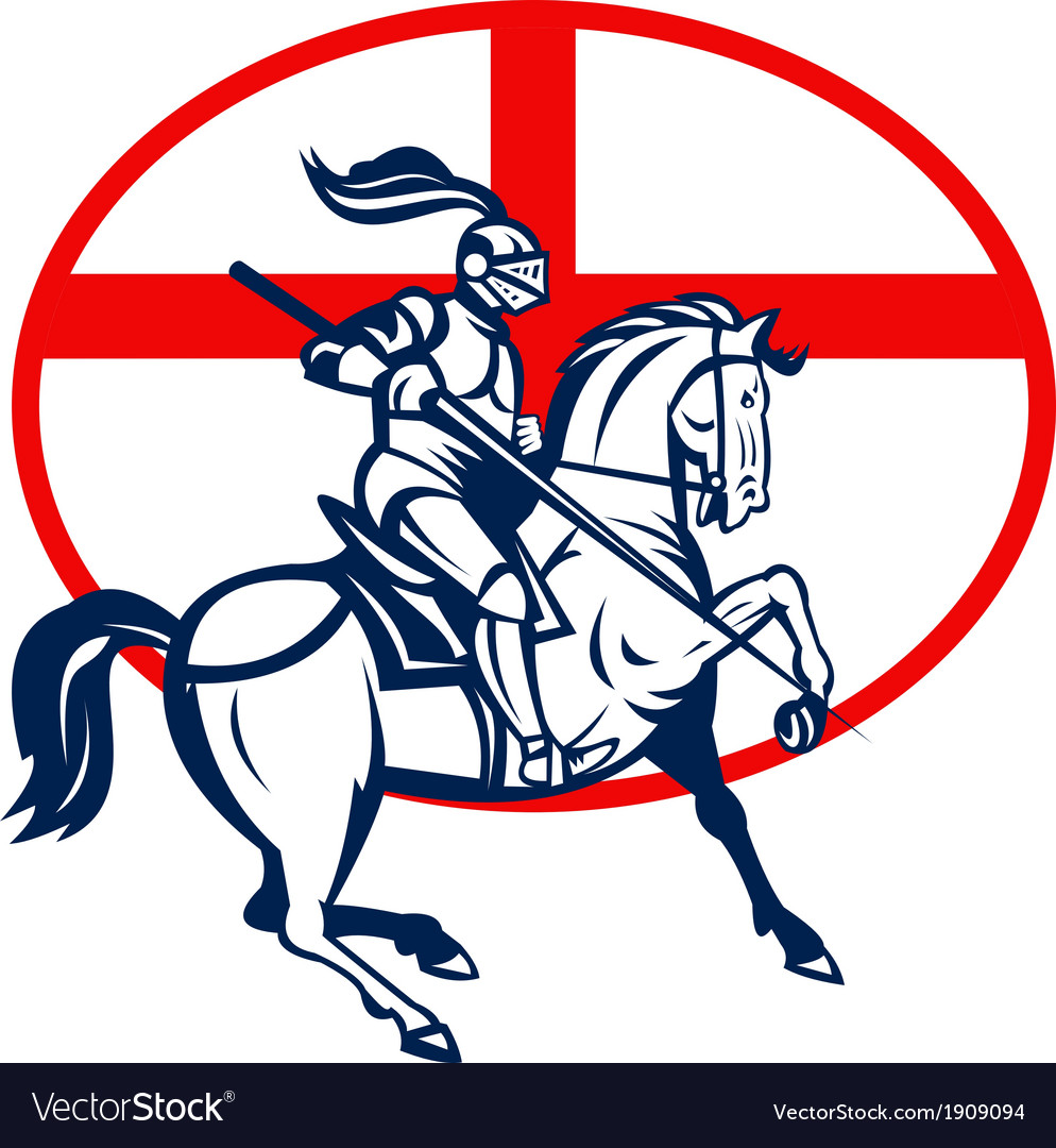 English knight riding horse england flag circle vector | Price: 1 Credit (USD $1)