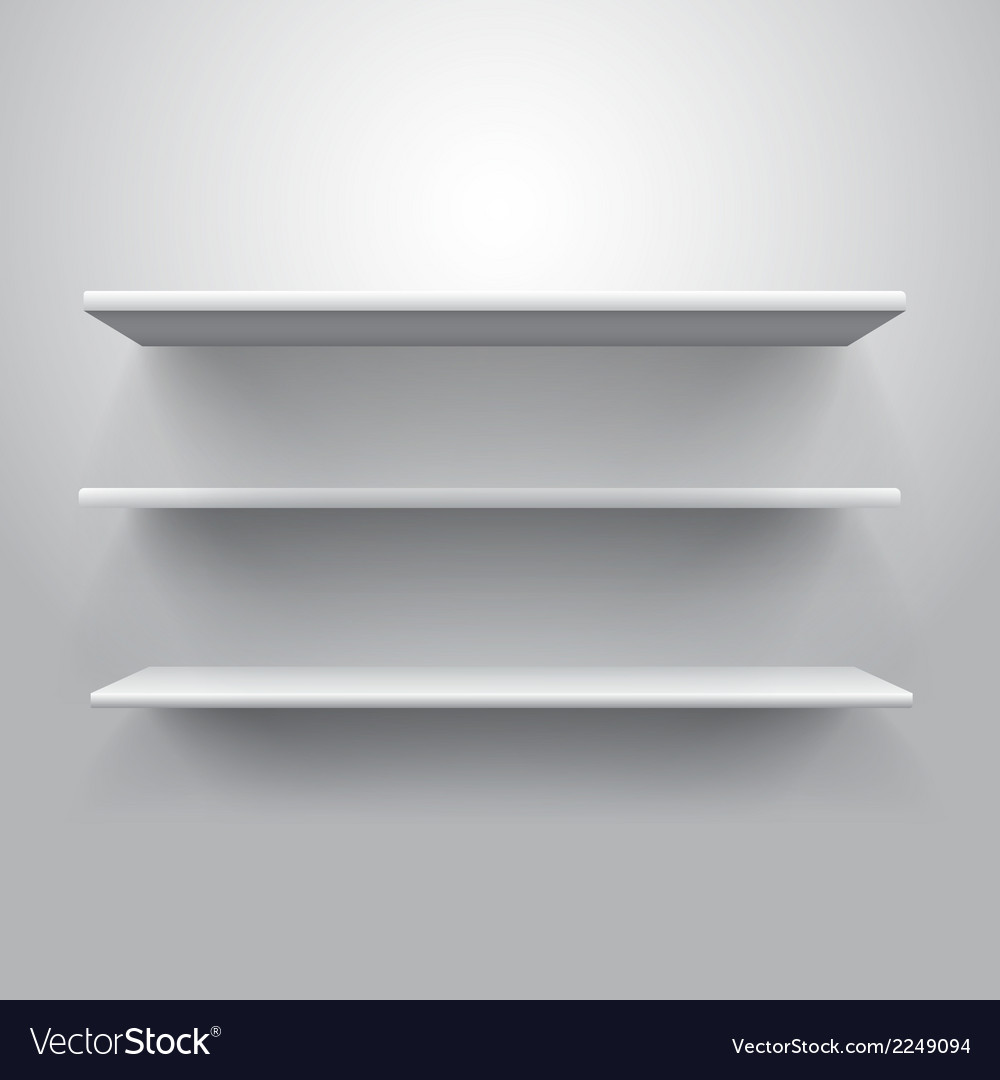 Realistic triple book shelf template vector | Price: 1 Credit (USD $1)