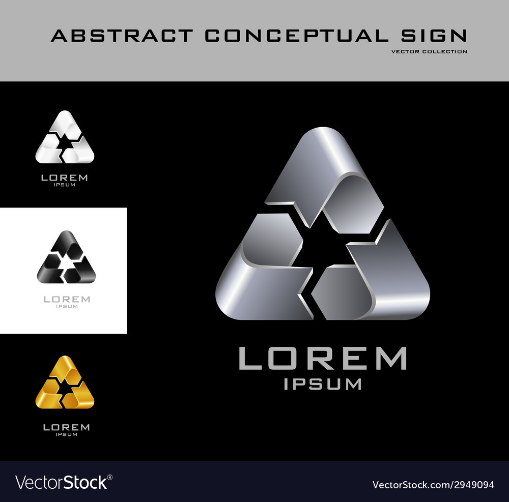 Recycling sign logo design template black white vector | Price: 1 Credit (USD $1)