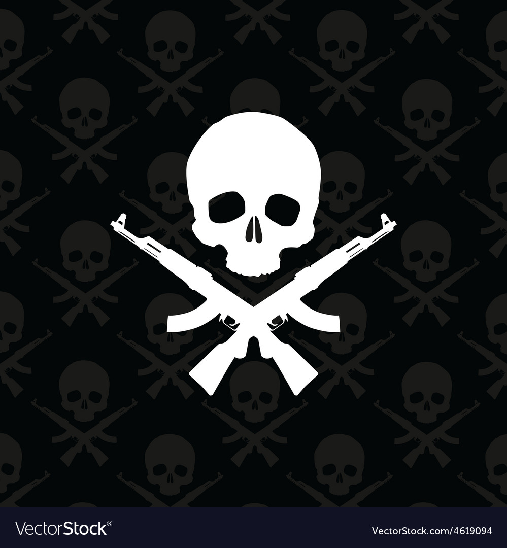 Skull with rifles vector   Price: 1 Credit (USD $1)