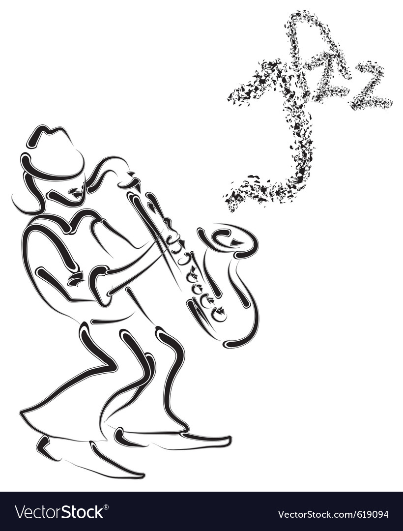 Stylized saxophone and musician vector | Price: 1 Credit (USD $1)