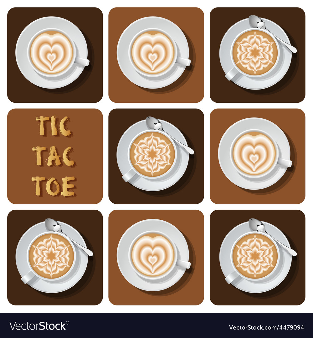 Tic-tac-toe of latte art vector | Price: 1 Credit (USD $1)