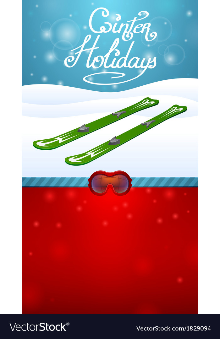 Winter holidays green skiing and red ski goggles vector | Price: 1 Credit (USD $1)