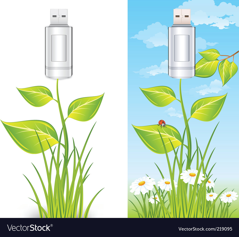 Eco usb drive vector | Price: 1 Credit (USD $1)