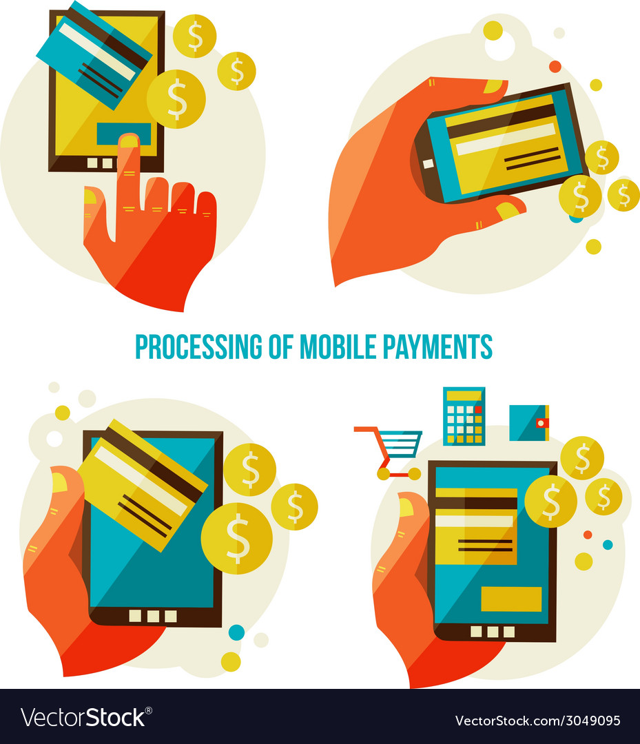 Processing of mobile payments vector | Price: 1 Credit (USD $1)