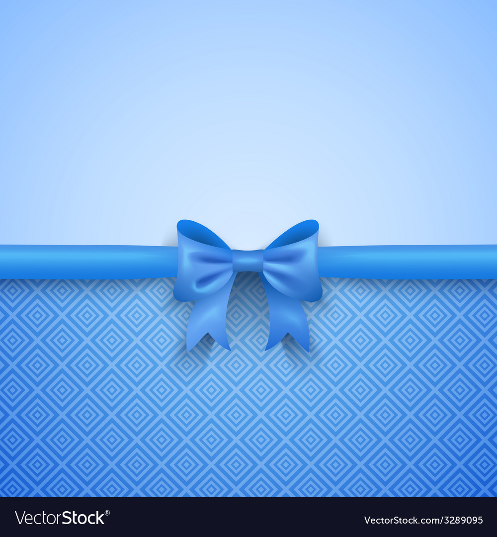 Romantic blue background with cute bow and pattern vector | Price: 1 Credit (USD $1)
