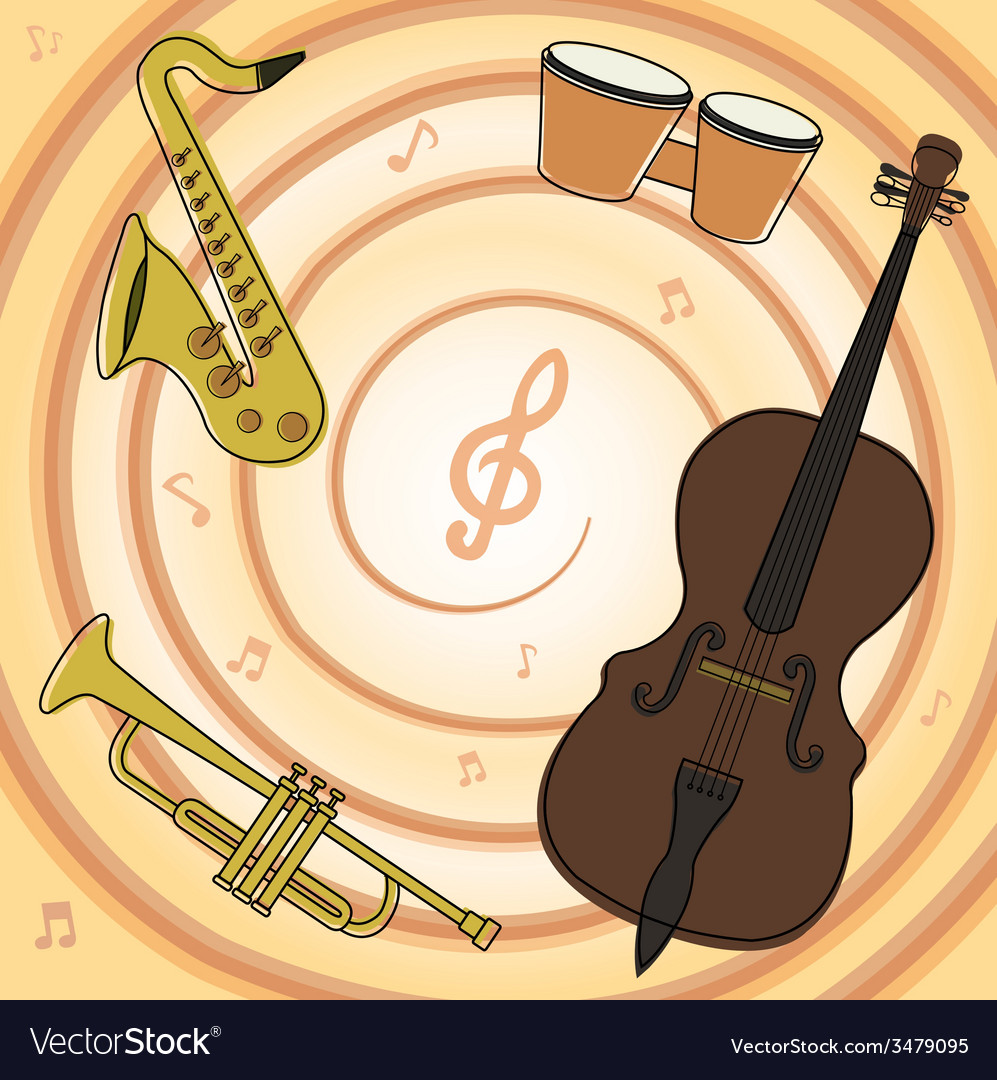 Set of jazz music instruments vector | Price: 1 Credit (USD $1)