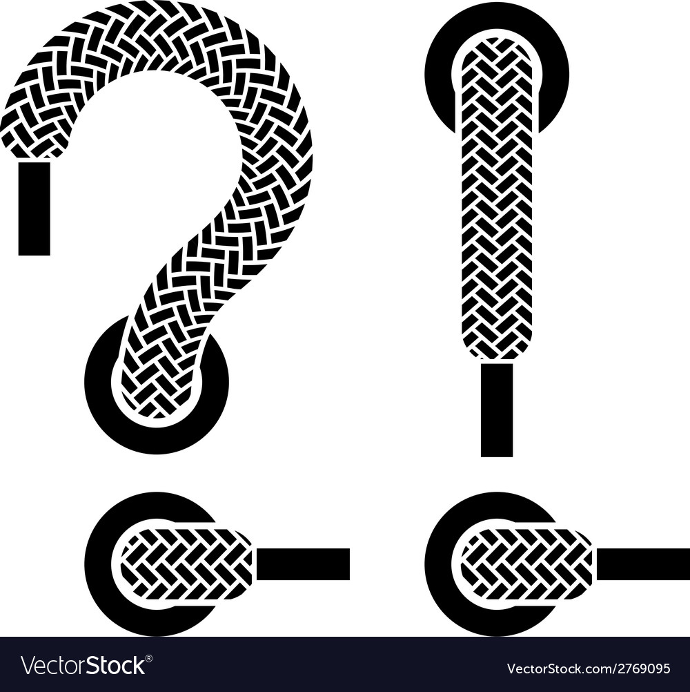 Shoe lace question exclamation marks vector | Price: 1 Credit (USD $1)