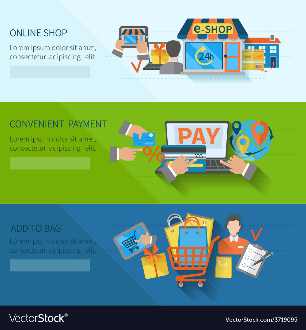 Shopping e-commerce banners vector | Price: 1 Credit (USD $1)