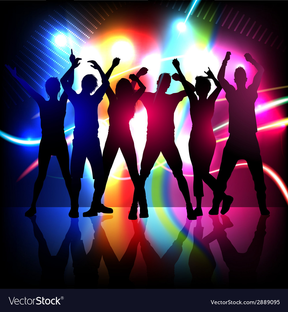 Silhouettes of party people dancing vector | Price: 1 Credit (USD $1)