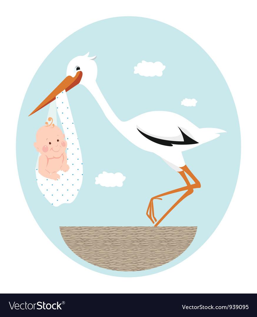 Stork and newborn baby in nest vector | Price: 3 Credit (USD $3)