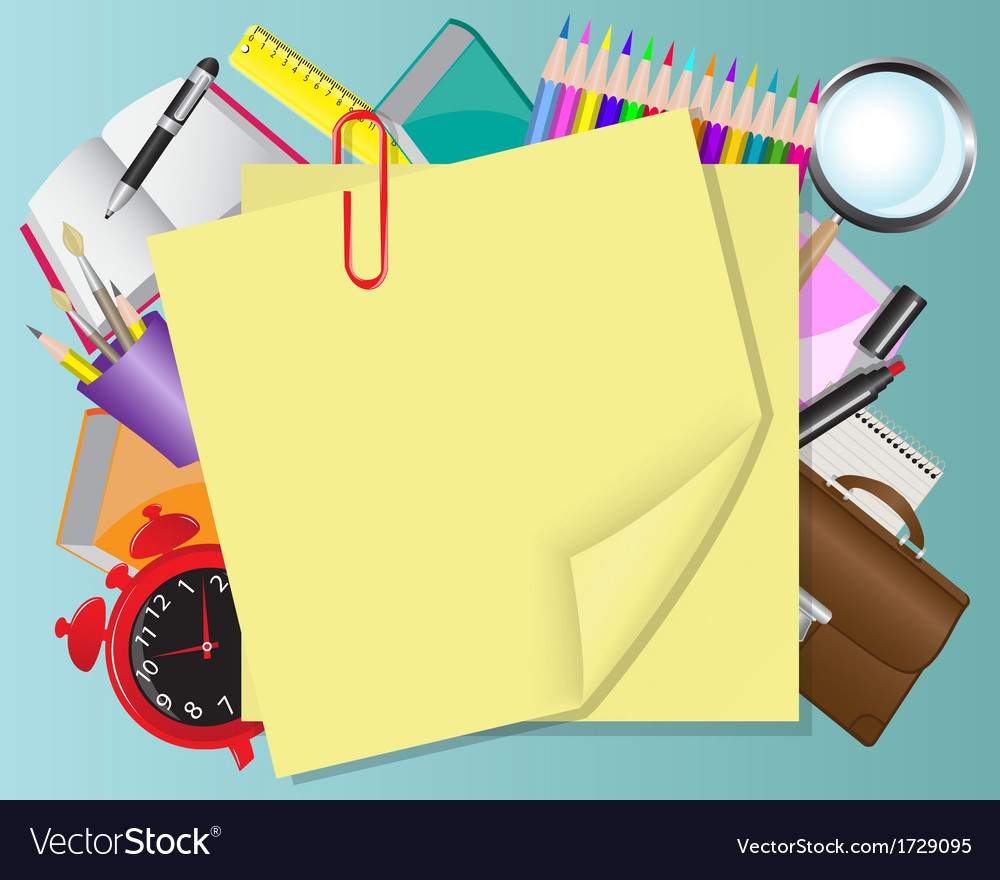 Yellow paper and school objects vector | Price: 1 Credit (USD $1)