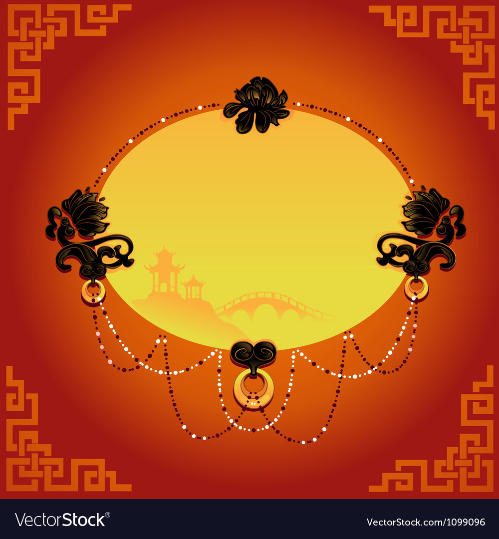 Chinese decorative background with frame vector | Price: 1 Credit (USD $1)