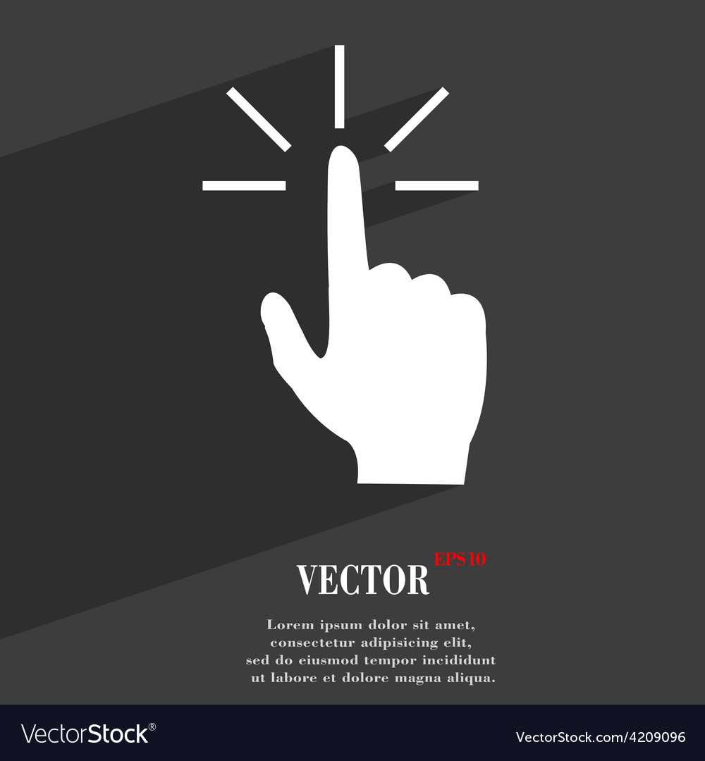 Click here hand icon symbol flat modern web design vector | Price: 1 Credit (USD $1)