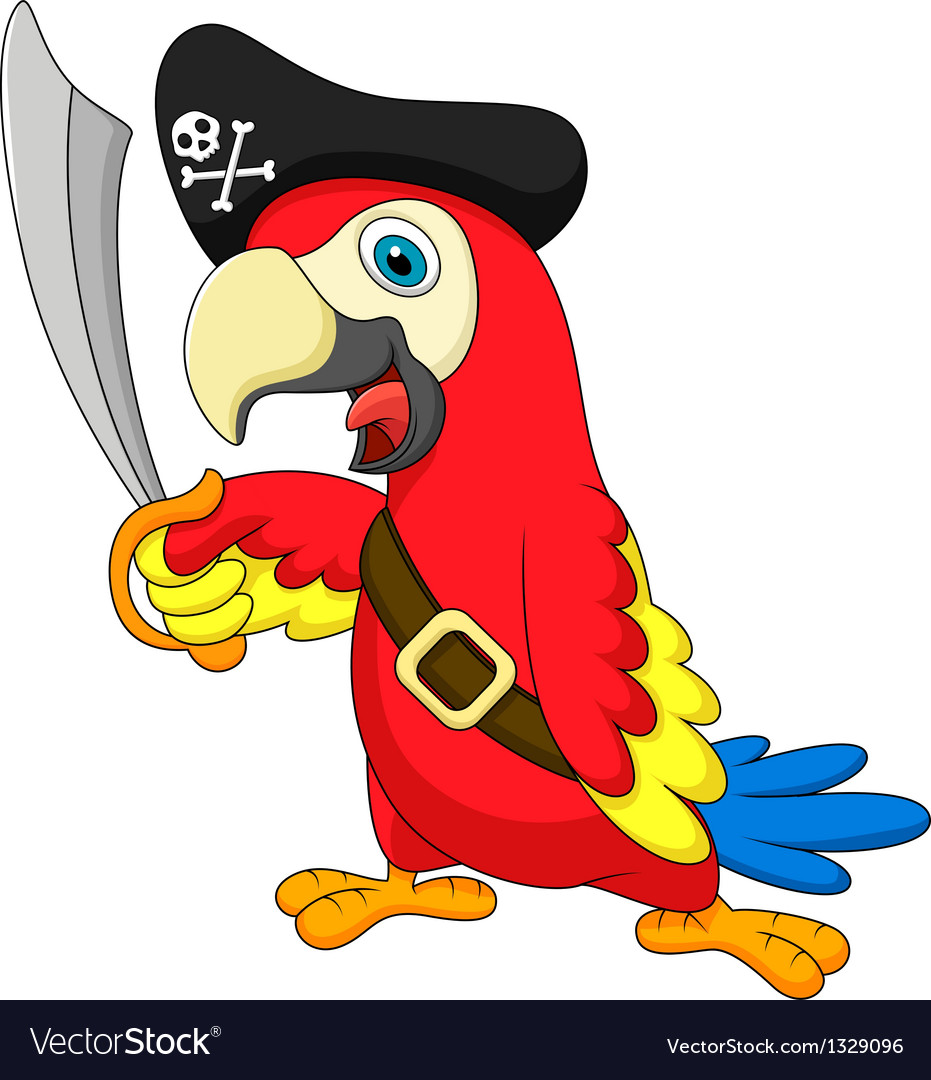 Cute parrot pirate cartoon vector | Price: 1 Credit (USD $1)